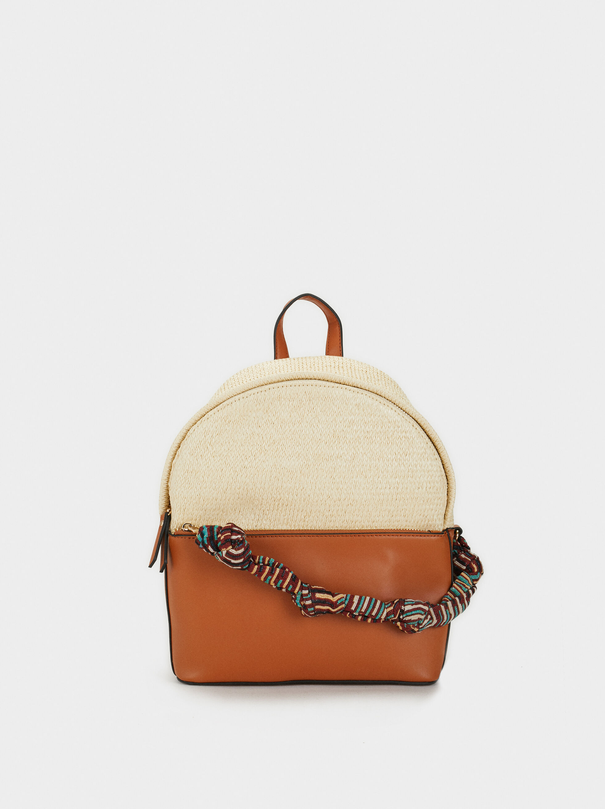 Raffia Effect Backpack, Beige, hi-res