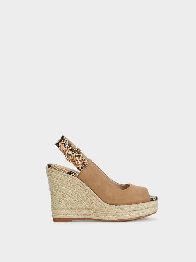 Jute Wedge Sandals, Beige, hi-res