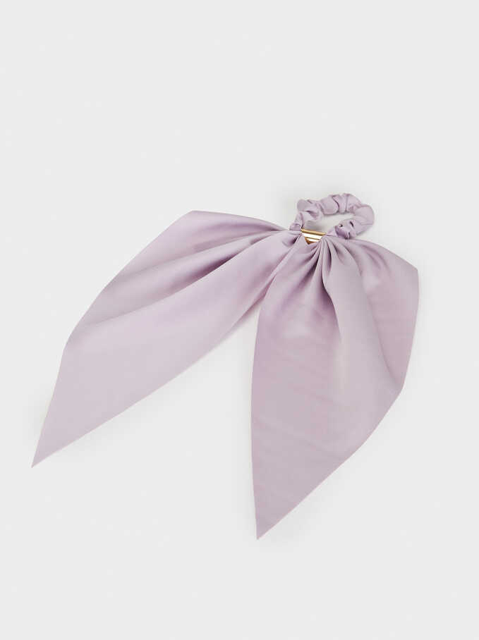 Plain Scrunchie With Metal Detail, Purple, hi-res