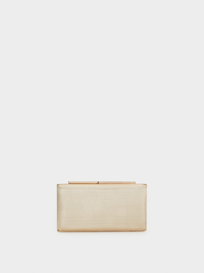 Metal Mesh Party Clutch, Golden, hi-res