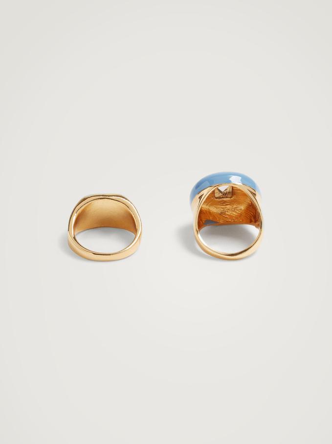 Enamelled Signet Ring Set, Multicolor, hi-res