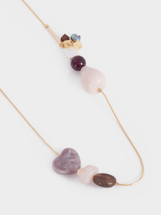 Stone Long Necklace, Multicolor, hi-res