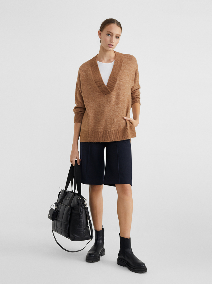 Knitted V-Neck Sweater, Camel, hi-res