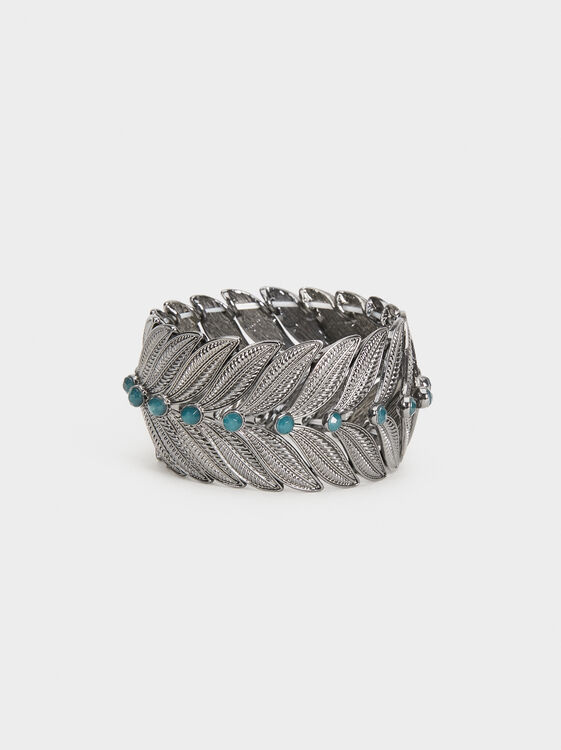Botanical Party Elasticated Bracelet, Grey, hi-res