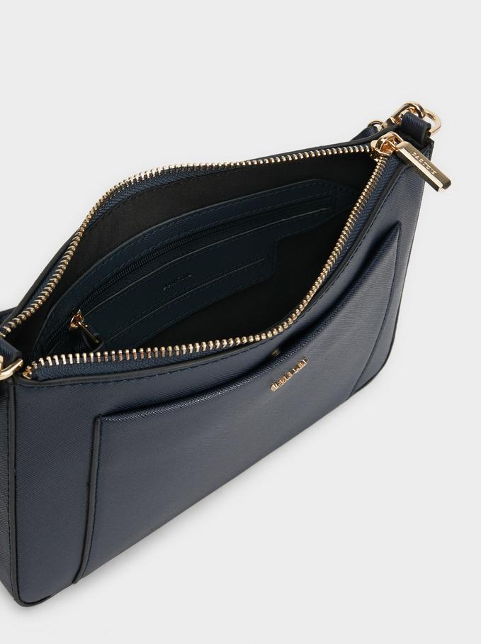 Plain Crossbody Bag, Navy, hi-res