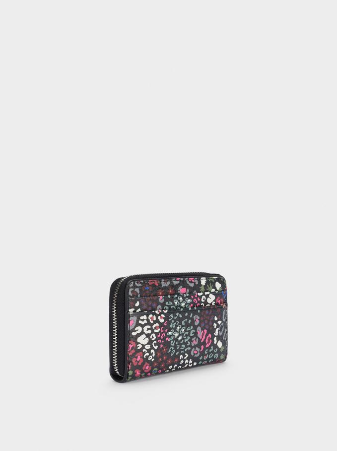 Compact Printed Wallet, Black, hi-res