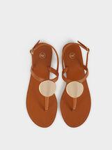 Flat Sandals With Metallic Detail, Camel, hi-res