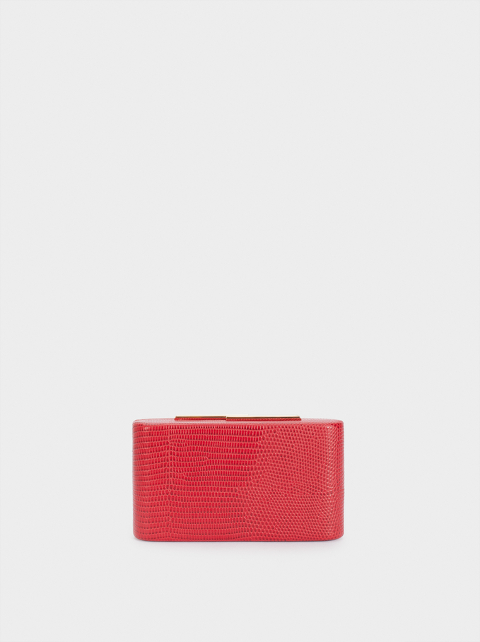 Embossed Animal-Print Party Clutch, Red, hi-res