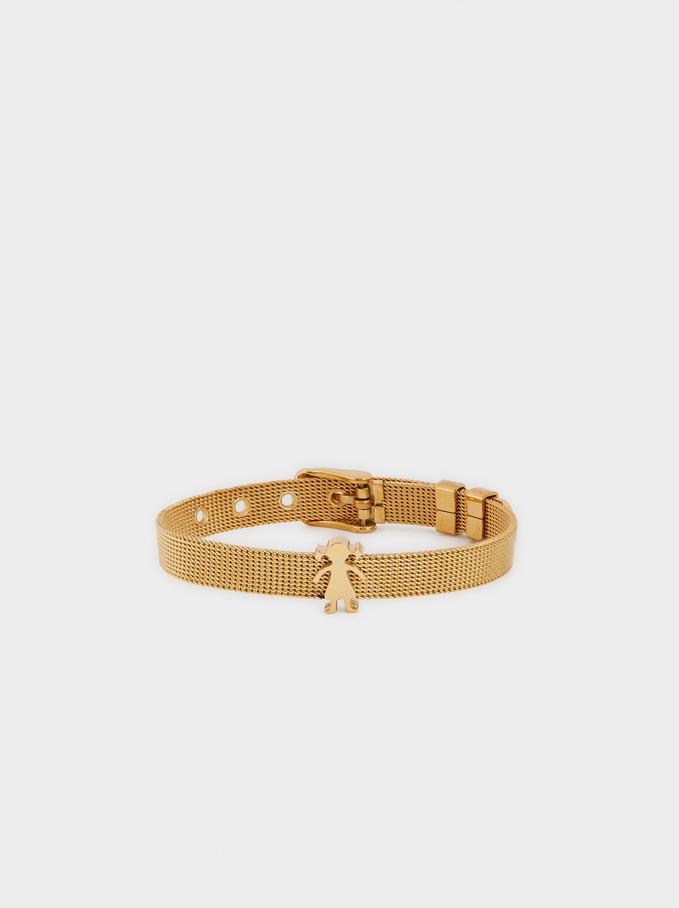 Bracelet Réglable En Acier Doré, Doré, hi-res
