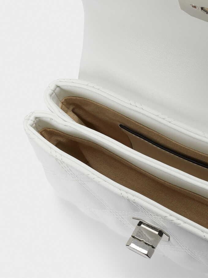 Shoulder Bag With Contrast Strap, White, hi-res