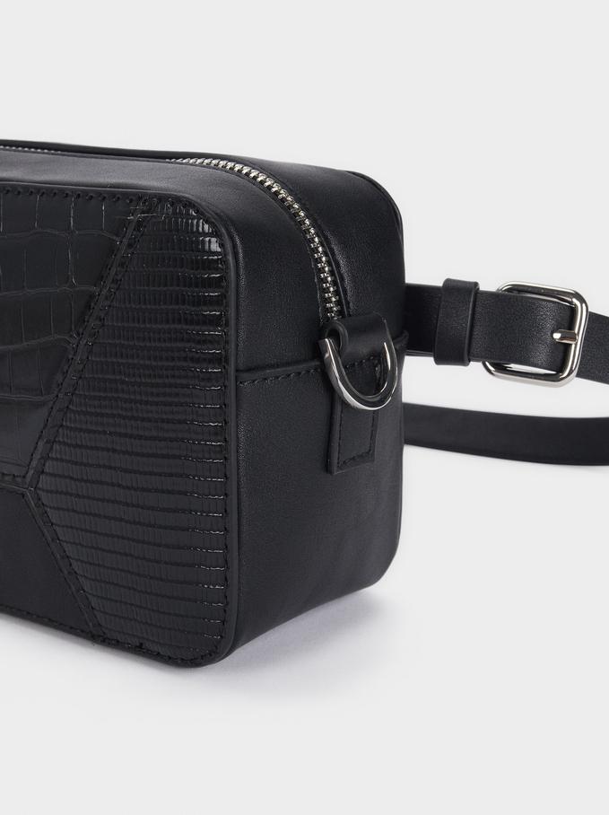 Patchwork Design Crossbody Bag, Black, hi-res