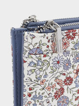 Floral Print Purse With An Outer Pocket, Blue, hi-res