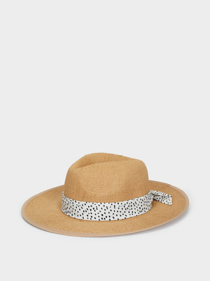 Straw Hat With Polka Dot Details, Beige, hi-res
