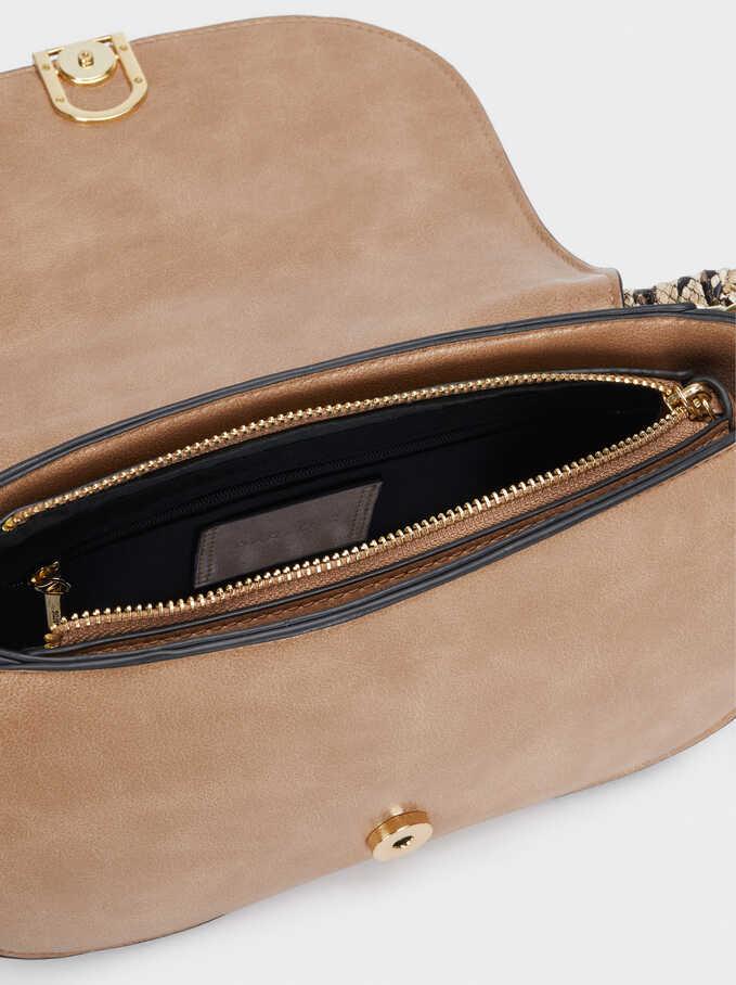 Crossbody Bag With Embossed Snakeskin Handle, Brown, hi-res