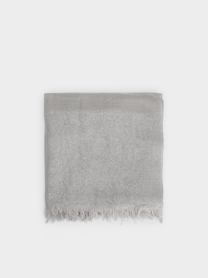 Metallic Wedding Scarf, Silver, hi-res