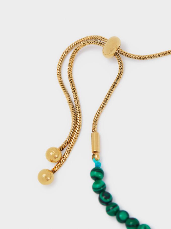 Adjustable Stainless Steel Bracelet With Stars, Green, hi-res