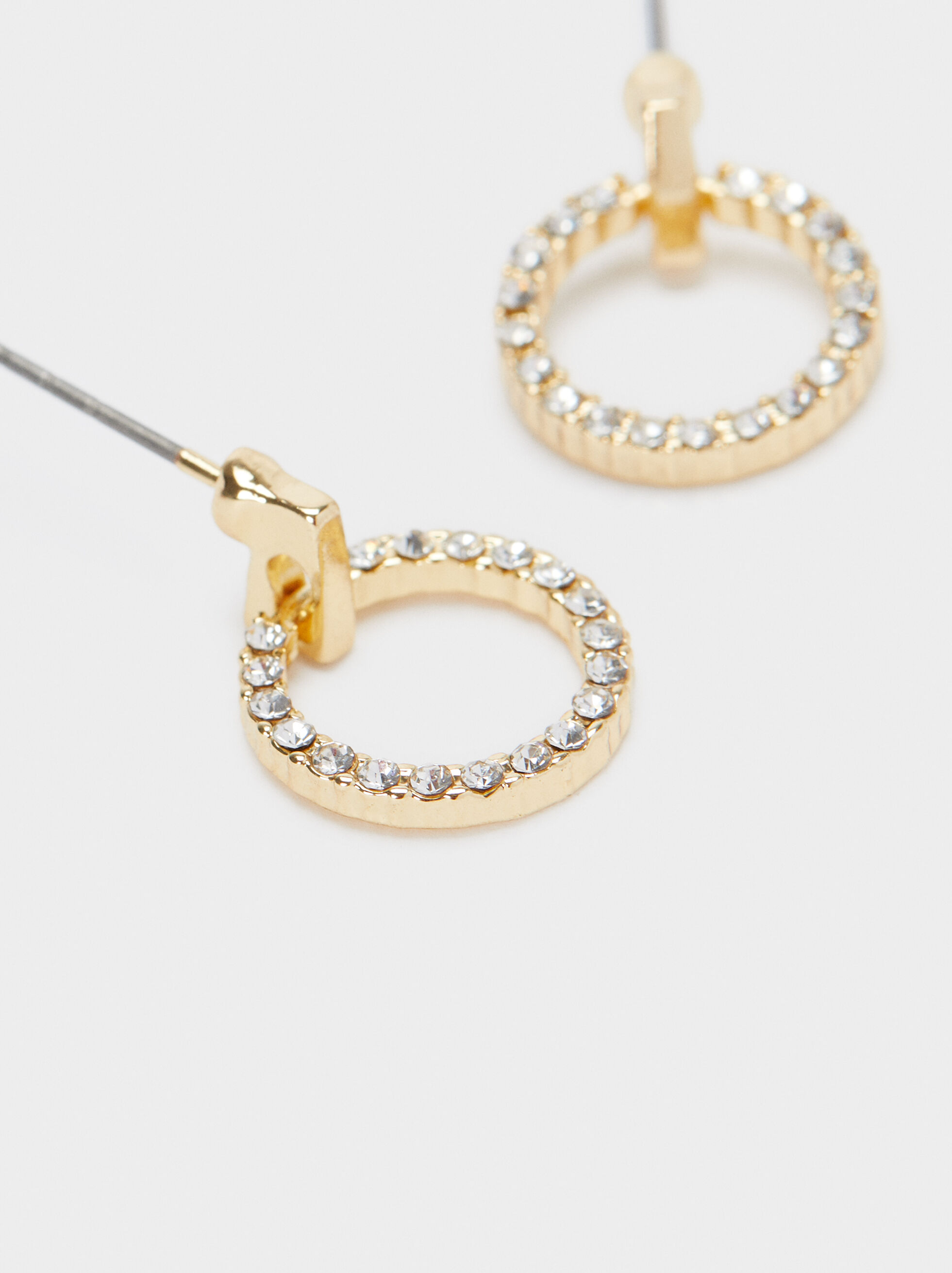 Short Dangle Earrings With Rhinestones, Golden, hi-res