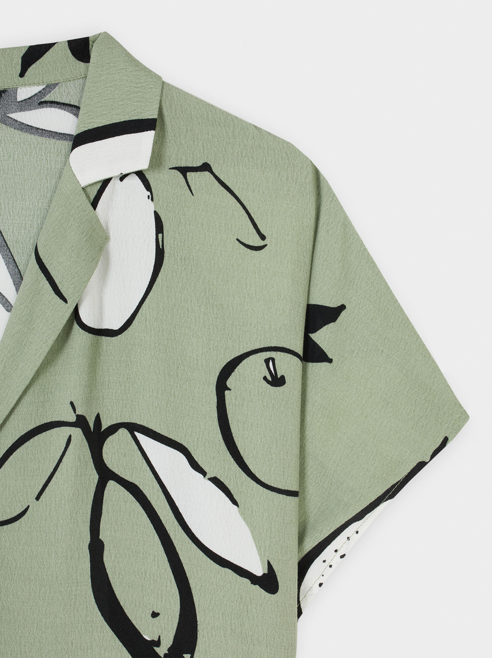 Pear Print Shirt Dress, Green, hi-res