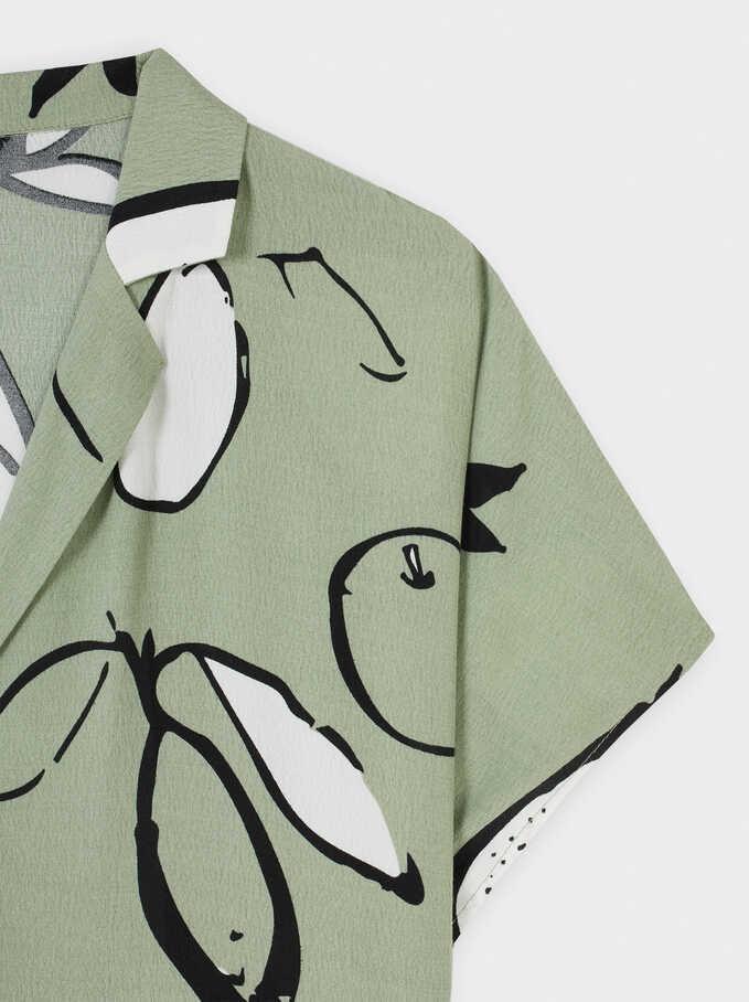 Vestido Camisero Estampado Peras, Verde, hi-res