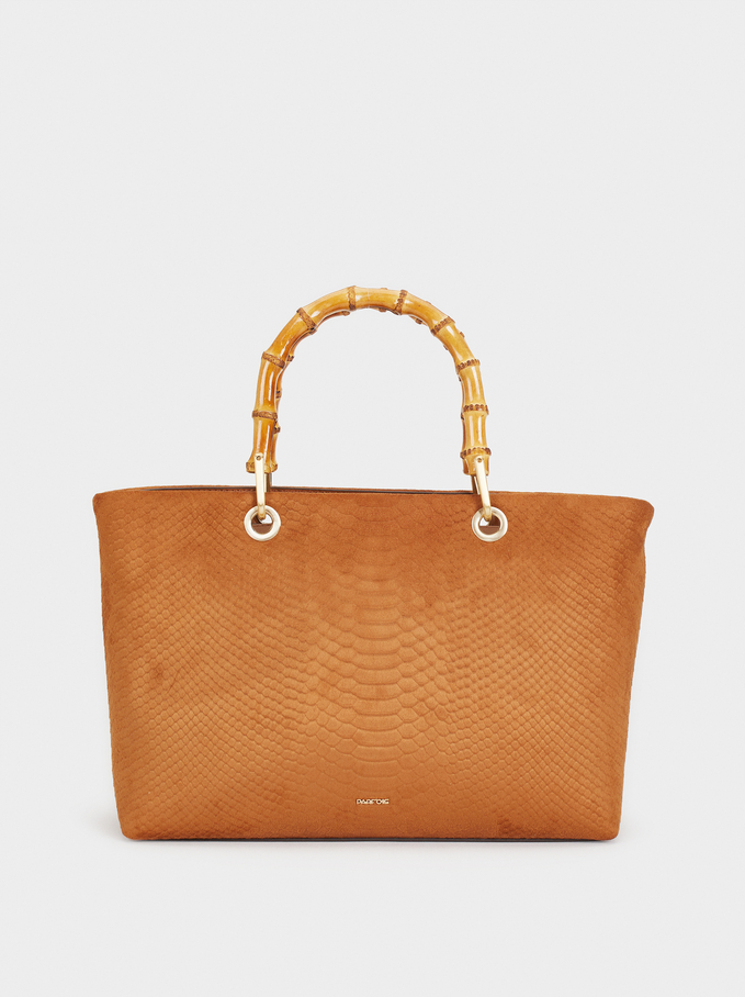 Tote Bag With Bamboo Handle, Camel, hi-res