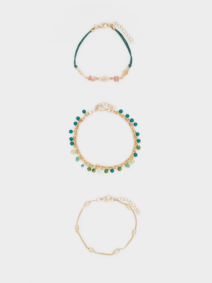 Set Of Bracelets With Stones And Beads, Multicolor, hi-res
