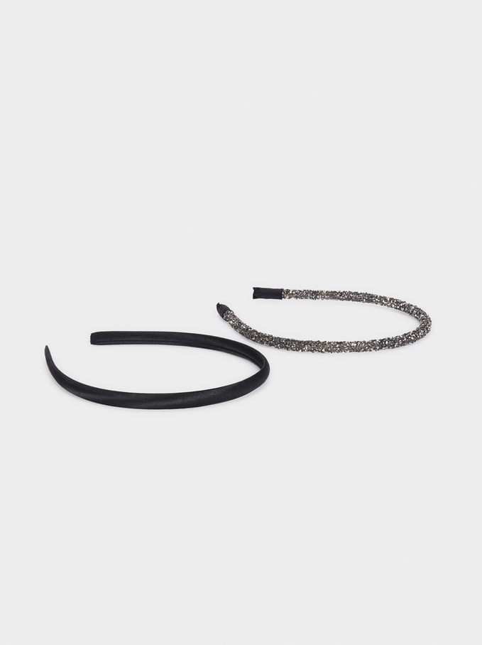 Set Of Thin Headbands, Black, hi-res