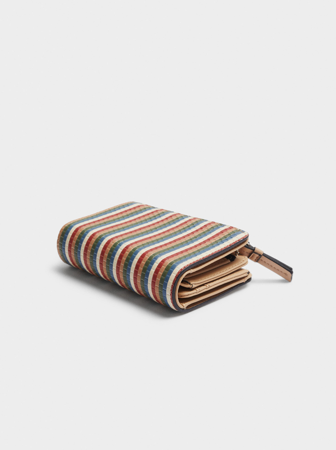 Compact Printed Wallet, Beige, hi-res