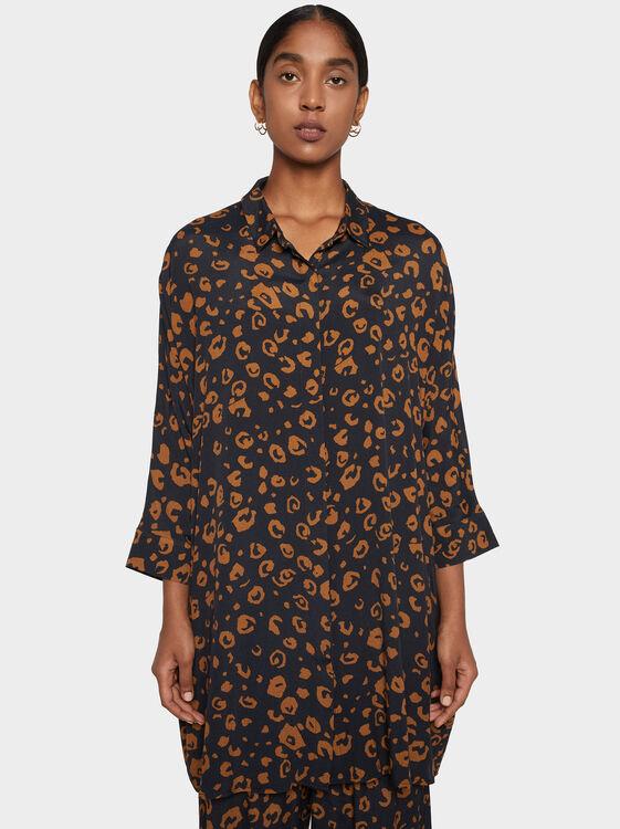 Printed Shirt Dress, , hi-res