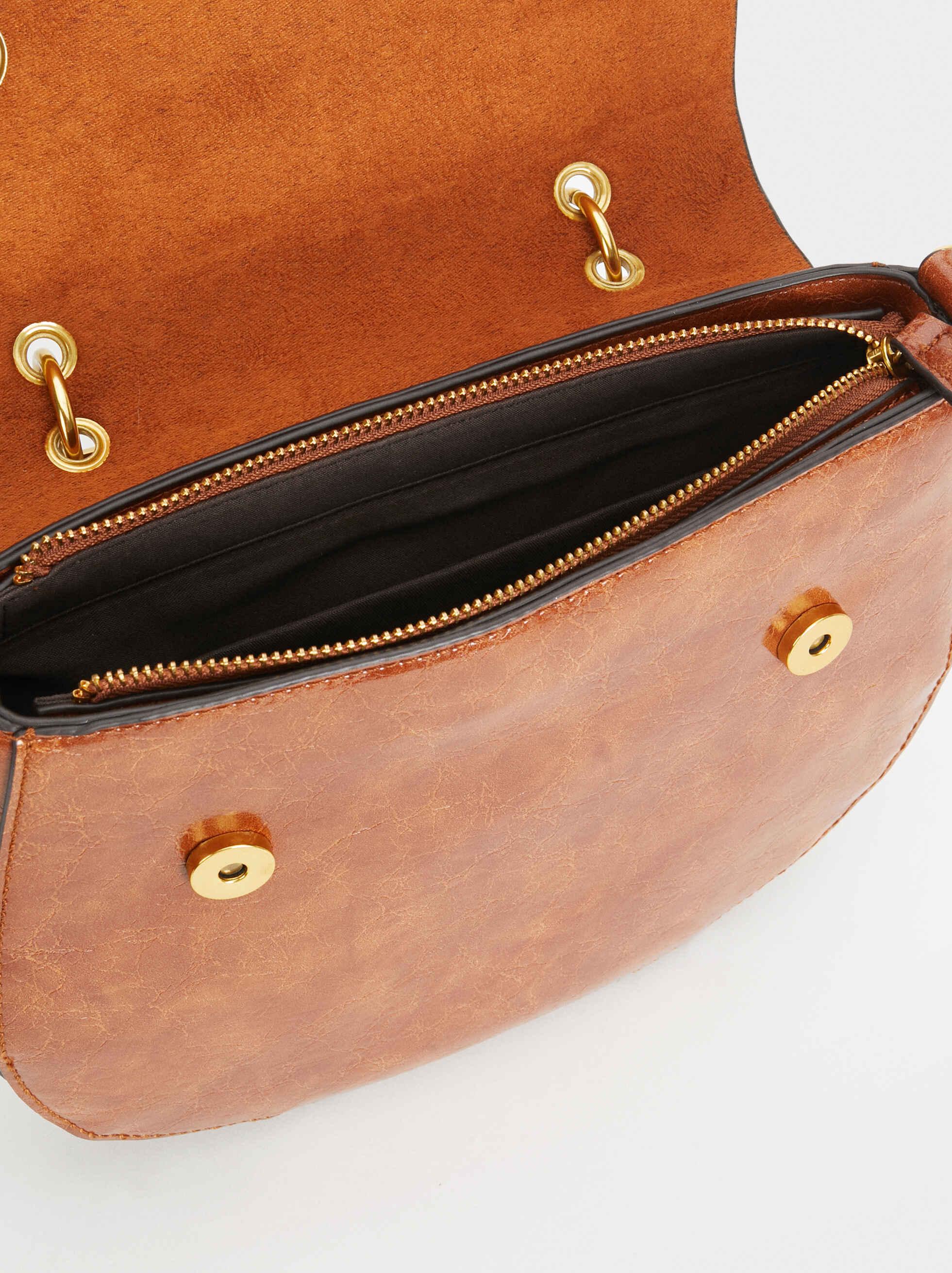 Crossbody Bag With Metallic Handle, Camel, hi-res