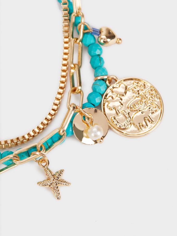 Gold Adjustable Bracelet With Stones , Multicolor, hi-res