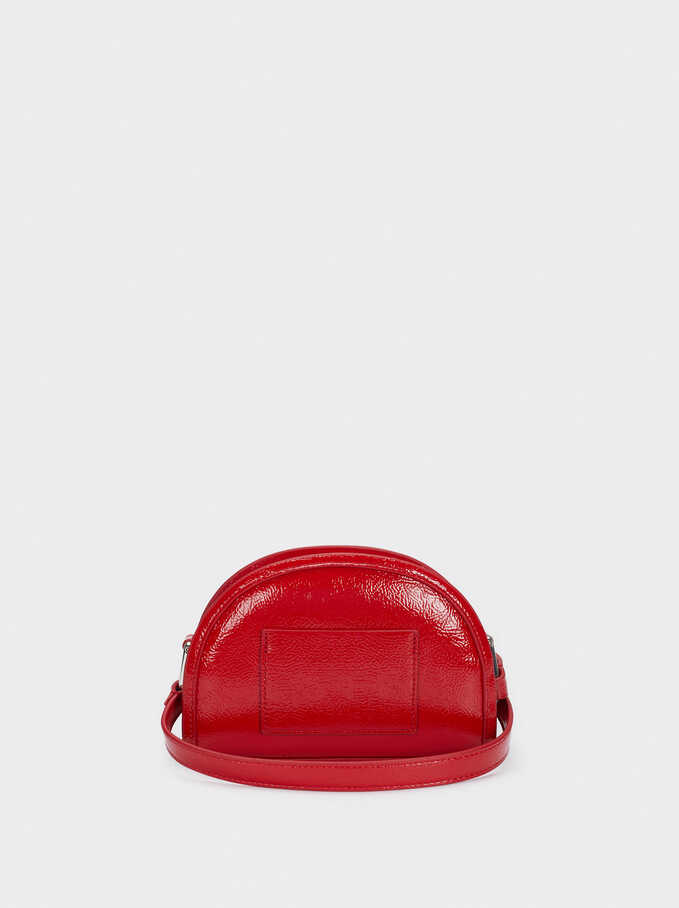 Patent Finish Shoulder Bag, Red, hi-res