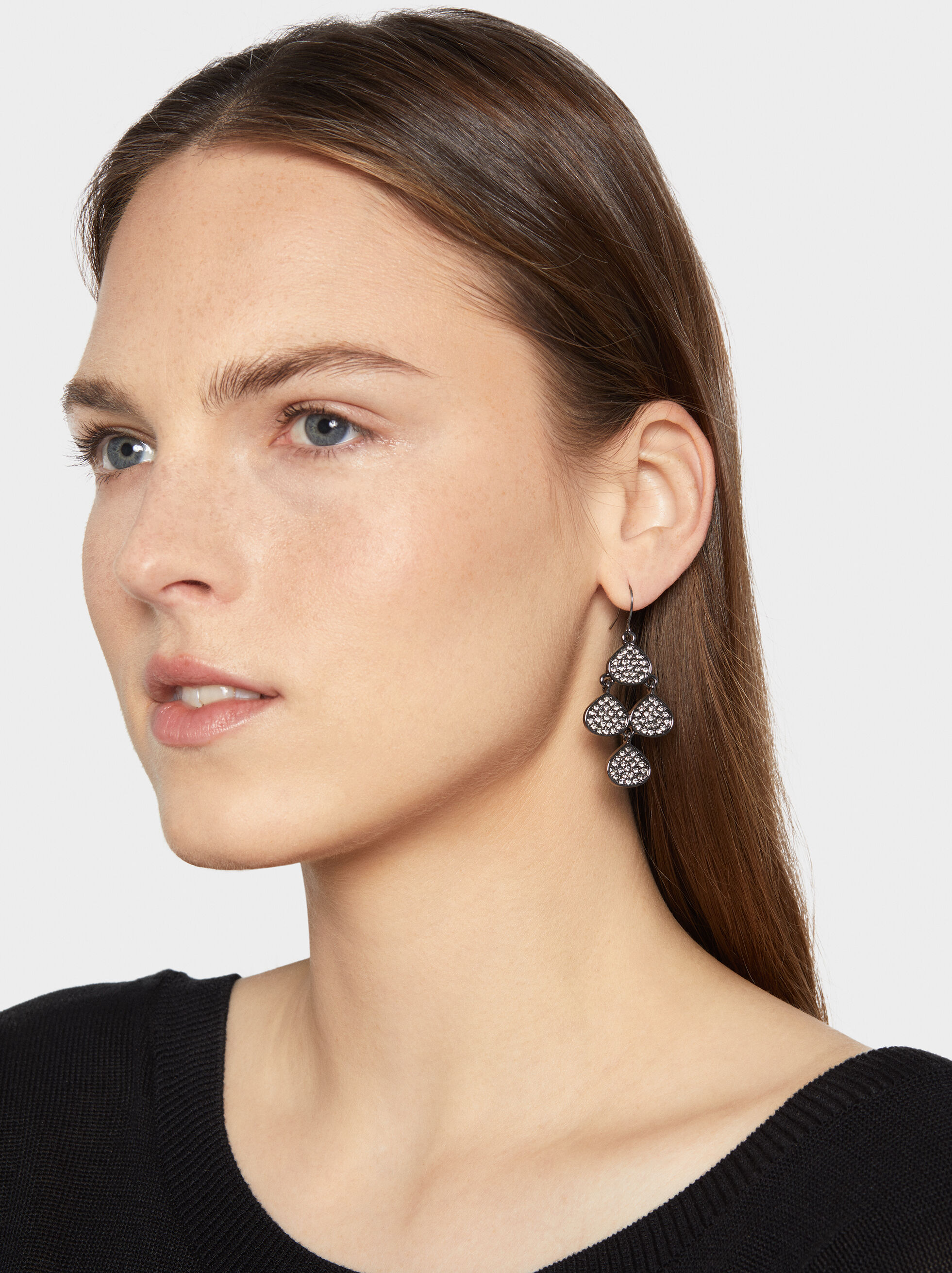 Medium Botanic Party Earrings, Black, hi-res