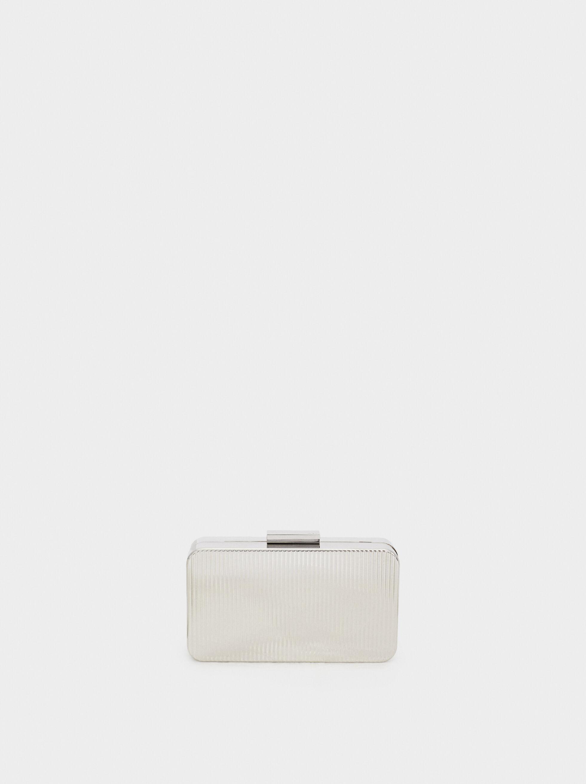 Metal Box Clutch  , Silver, hi-res
