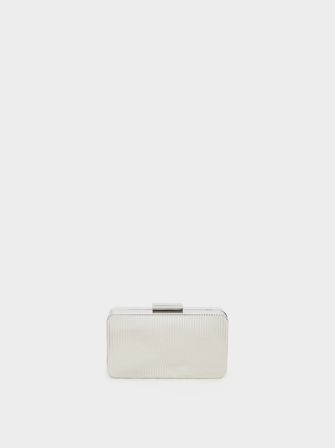 Metal Box Clutch  , Silver, hi-res