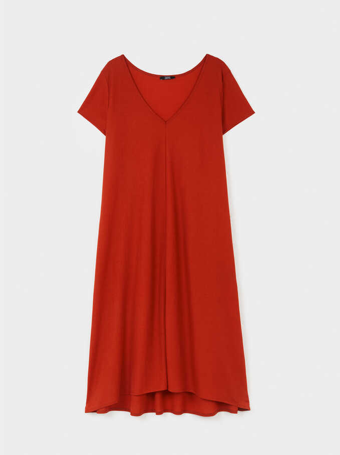 V-Neck Dress, Red, hi-res