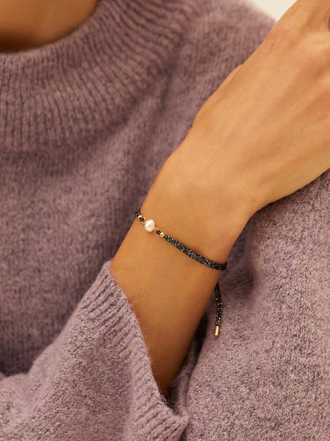 Bracelet Réglable En Acier Avec Perle, Noir, hi-res