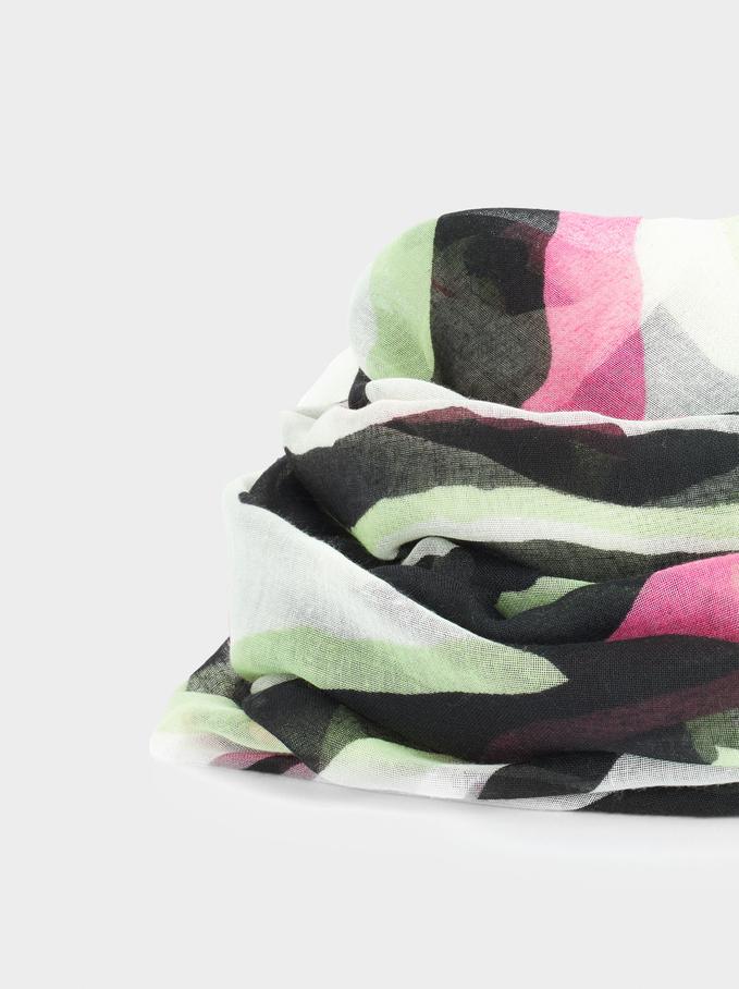 Pañuelo Estampado Fabricado Con Materiales Reciclados, Crudo, hi-res
