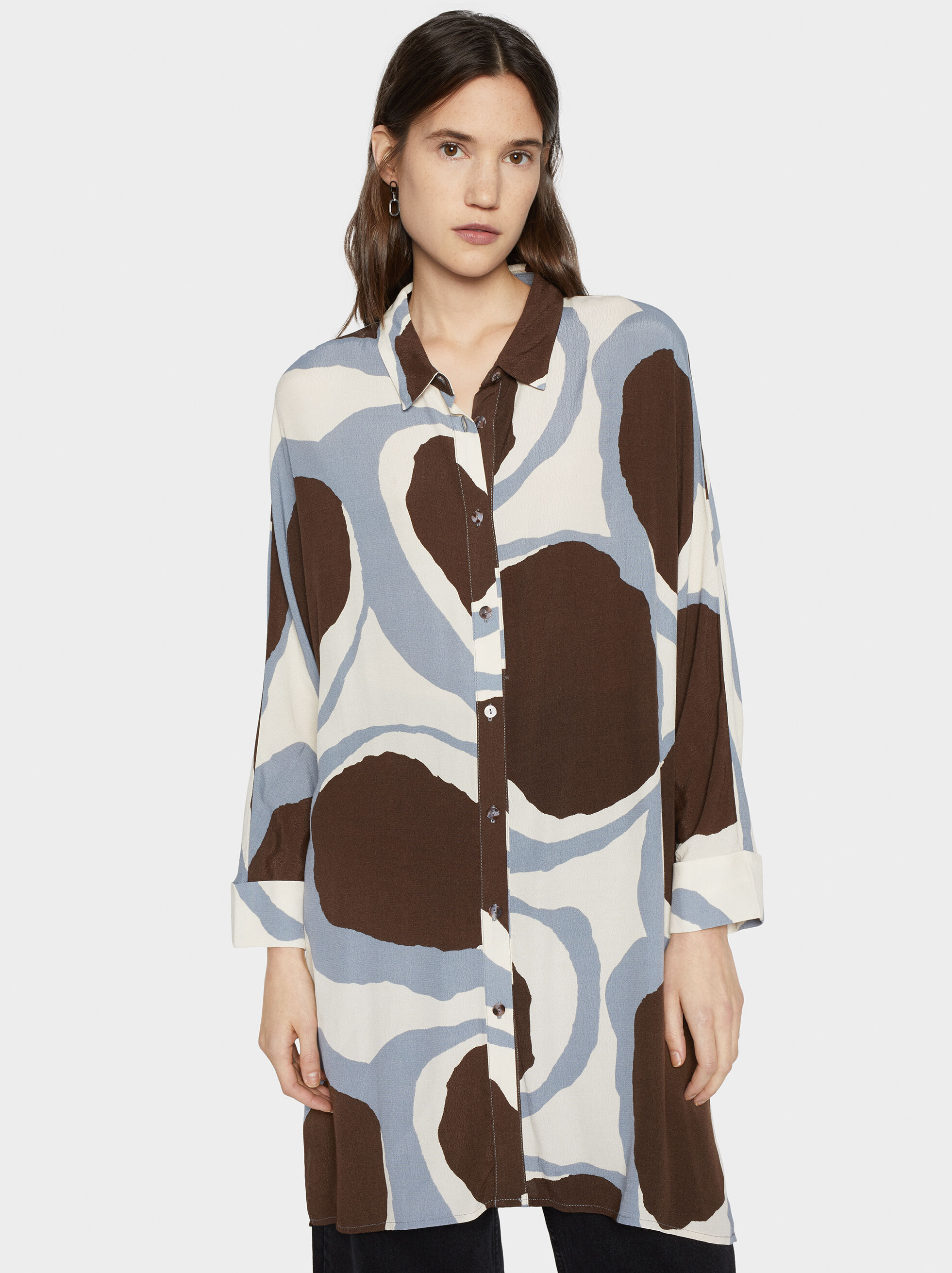 Printed Shirt Dress, Ecru, hi-res