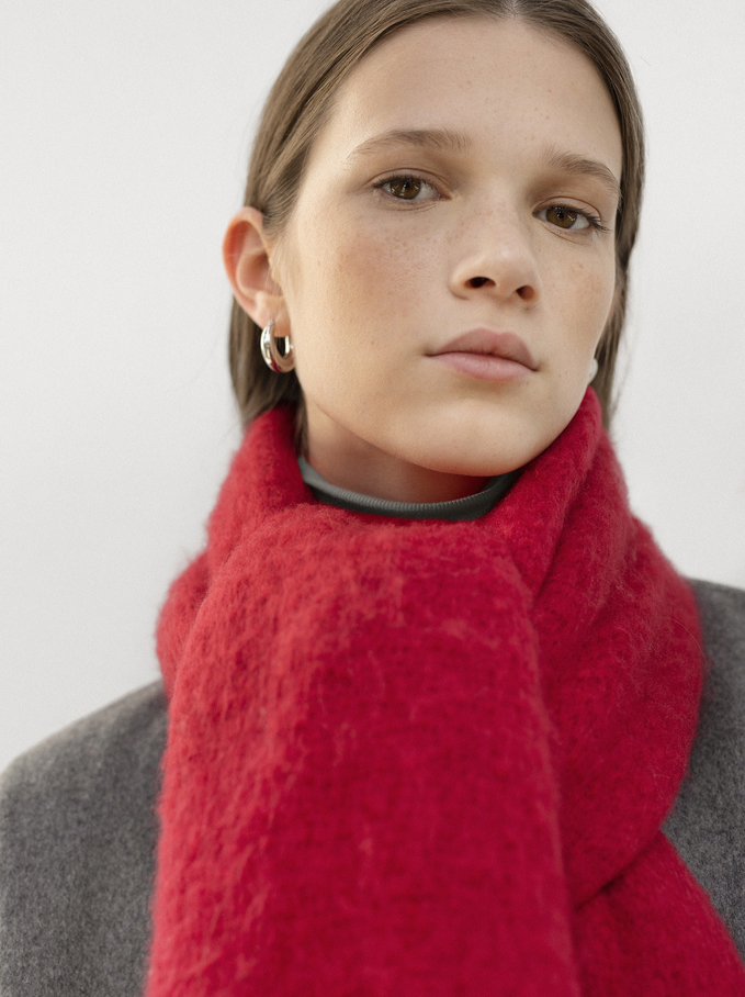 Maxi Scarf With Fringing, Red, hi-res