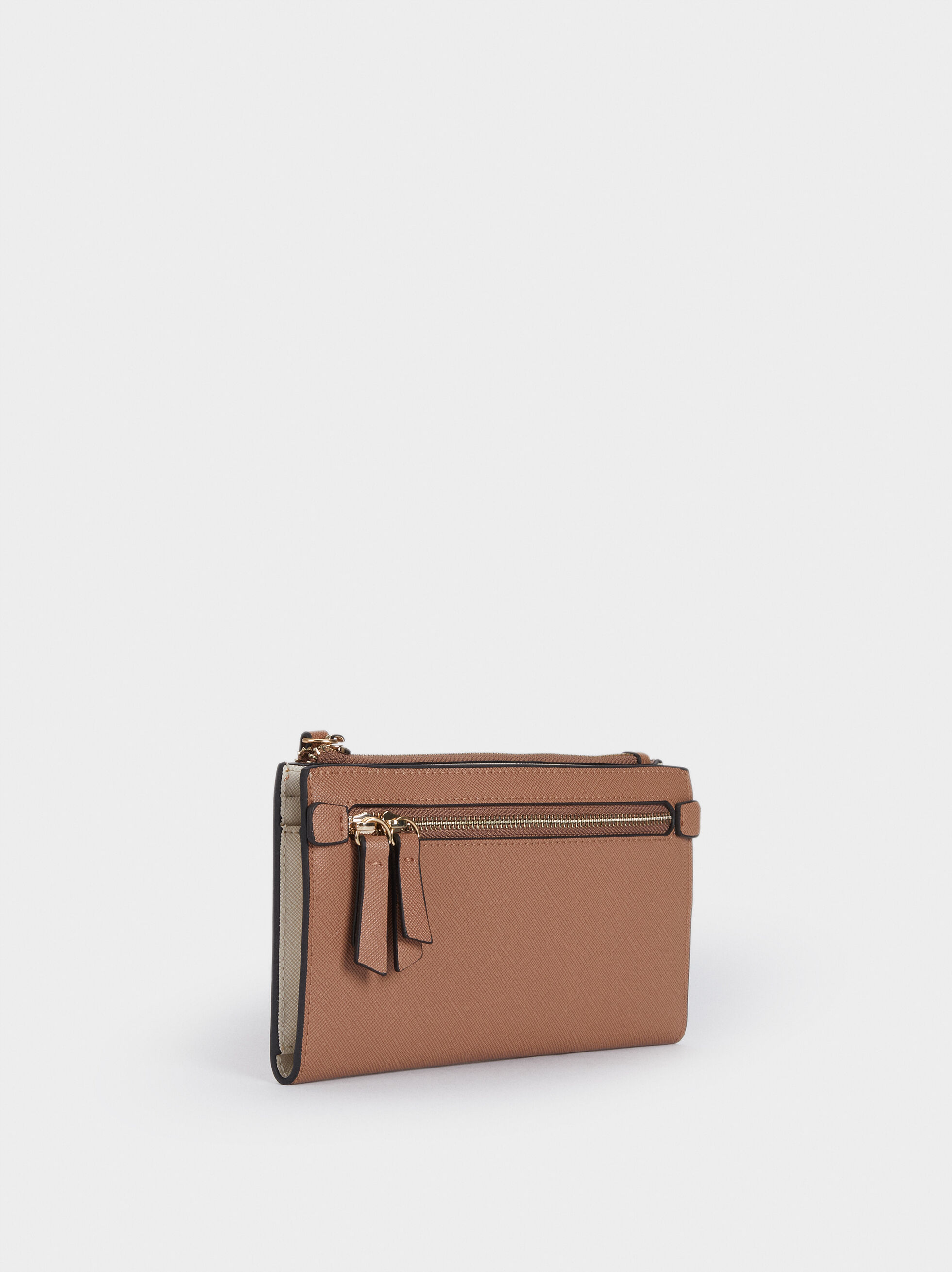 Plain Zipped Purse, Pink, hi-res