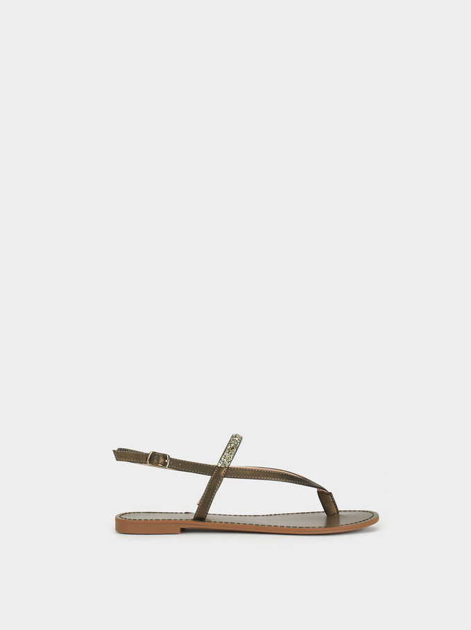 Flat Sandals With Bejewelled Strap, Khaki, hi-res
