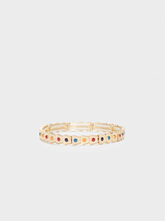 Gold Elasticated Bracelet, Multicolor, hi-res