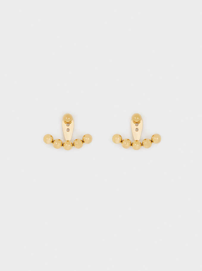 Short Gold Stainless Steel Earrings, Golden, hi-res