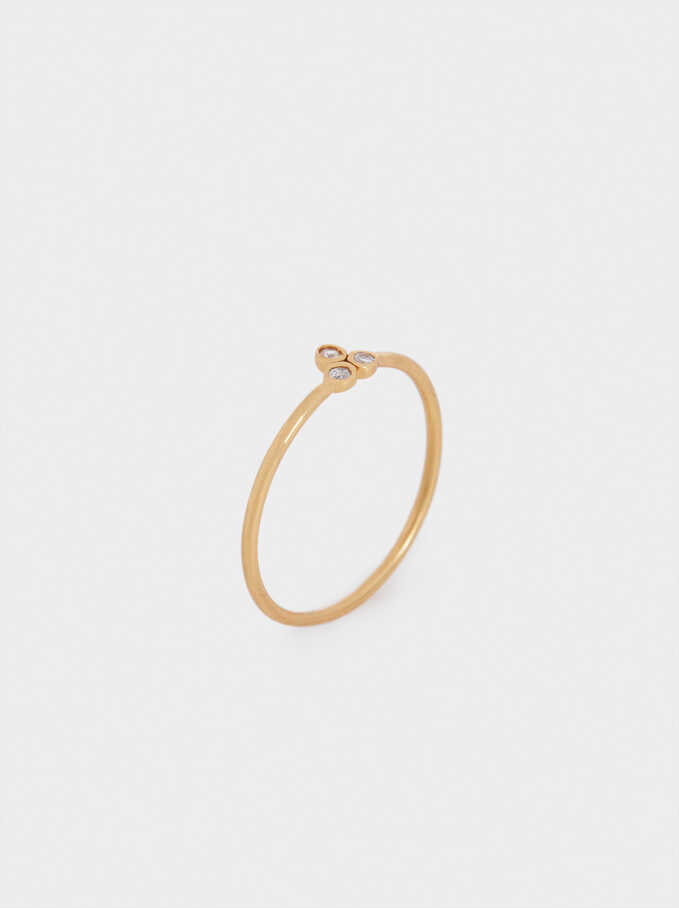 925 Silver Ring With Zirconia, Golden, hi-res