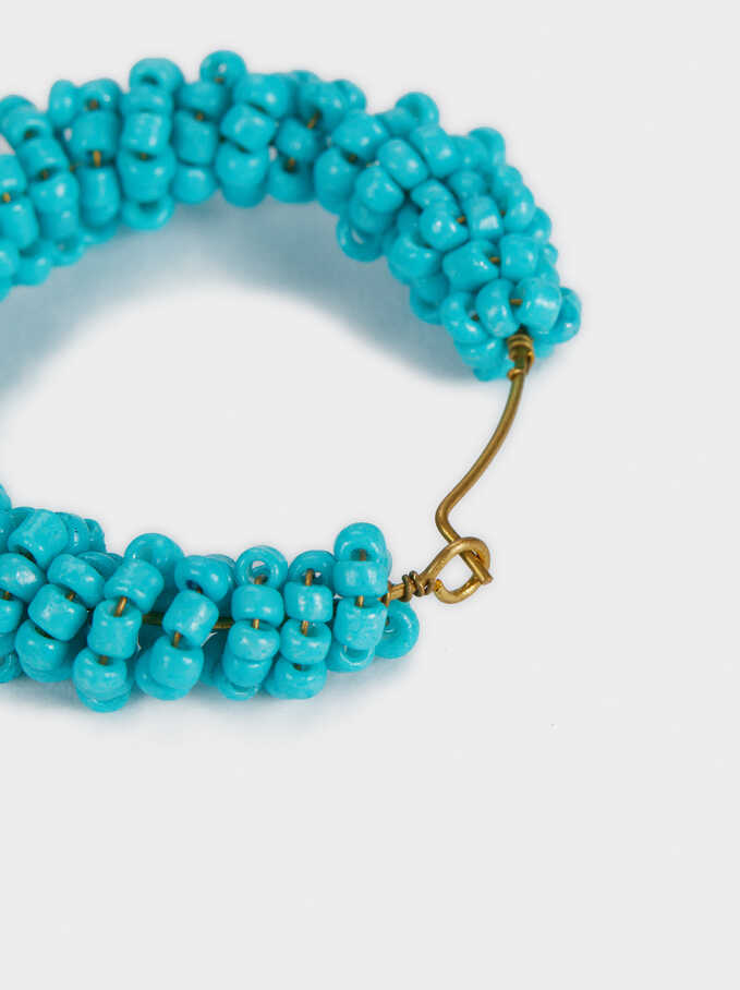 Recife Short Hoop Earrings With Beads, Multicolor, hi-res