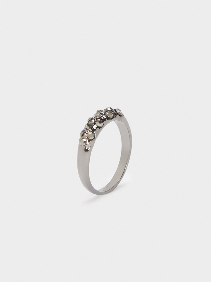Ring With Multicoloured Crystals, Grey, hi-res