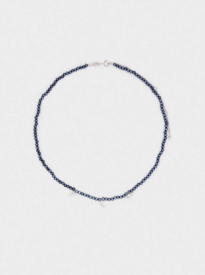 Collar Corto De Plata 925 Con Charms, Azul, hi-res