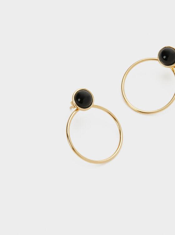 Medium 925 Silver Earrings, Black, hi-res