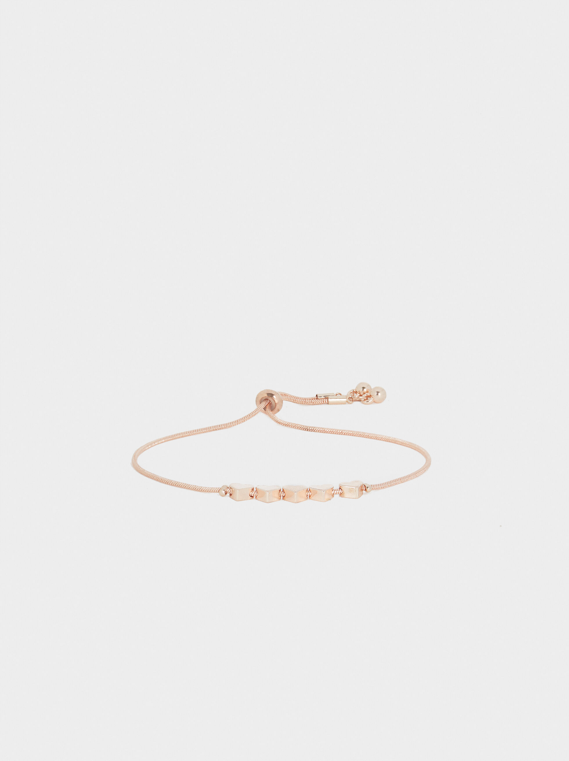 Rose Gold Adjustable Bracelet With Heart Detail, Orange, hi-res
