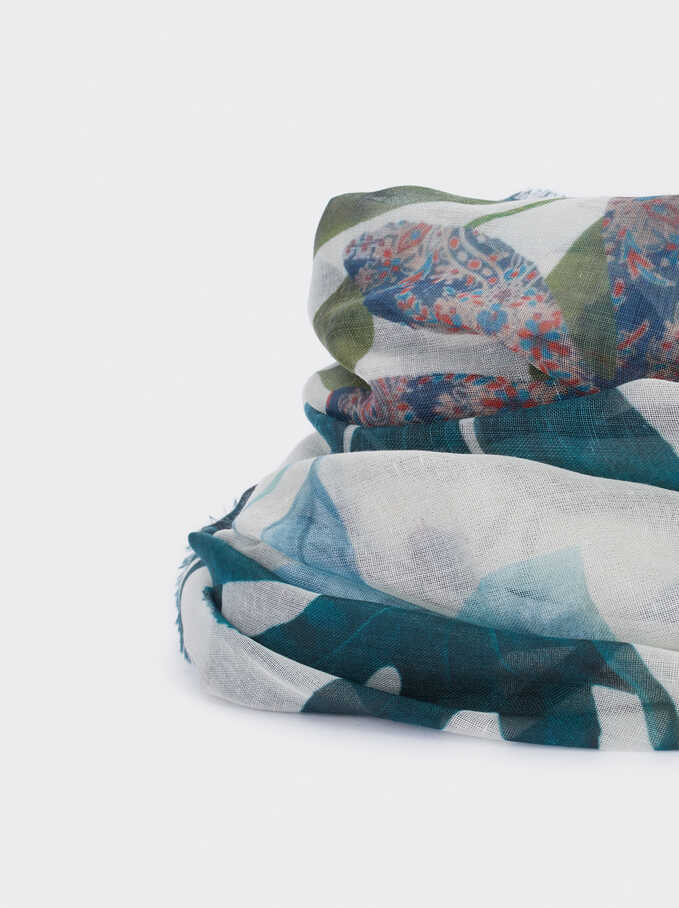 Multicoloured Print Scarf, Ecru, hi-res